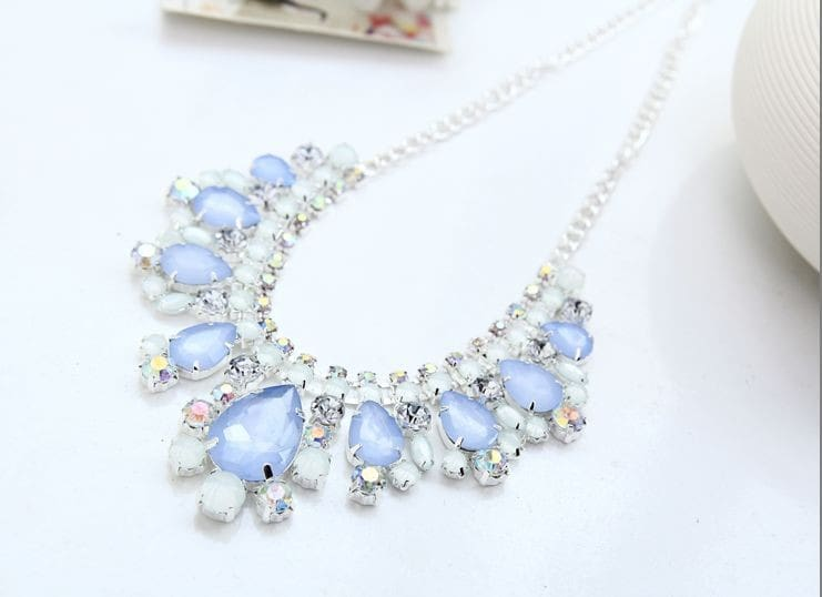 2015 New Silver Plated Bue Crystal Necklace Accessories Rhinestone Fashion Chain Necklaces For Women #n031
