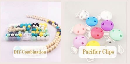 26Color Available Pink Light Blue Wooden Nursing Necklace. Girls Crochet Necklace. Mammy And Baby Teething Necklace.