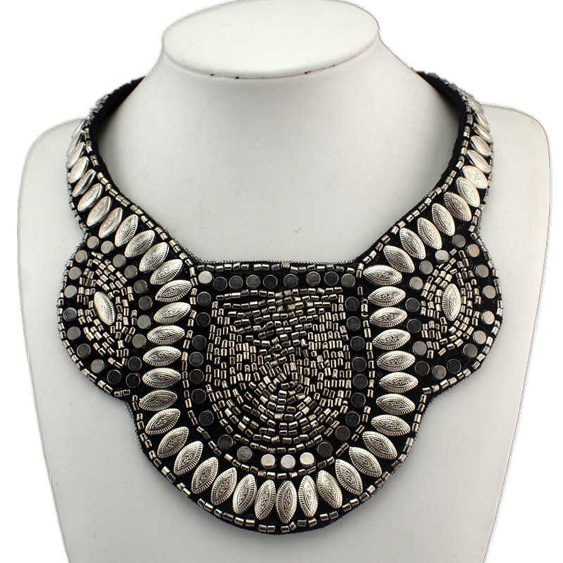 New Arrival Exaggerate Punk National Choker Statement Necklace Hand-Made Collars Jewelry With Beads For Women Dress