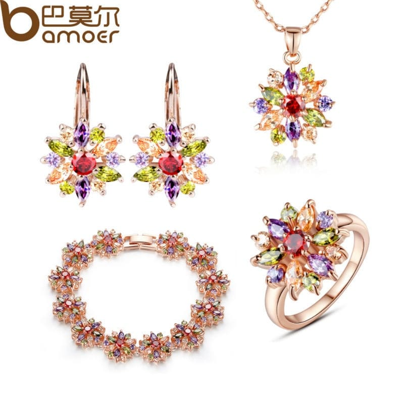 Bamoer Luxury Gold Color Flower Jewelry Sets For Women Wedding With Colorful Aaa Cubic Zircon