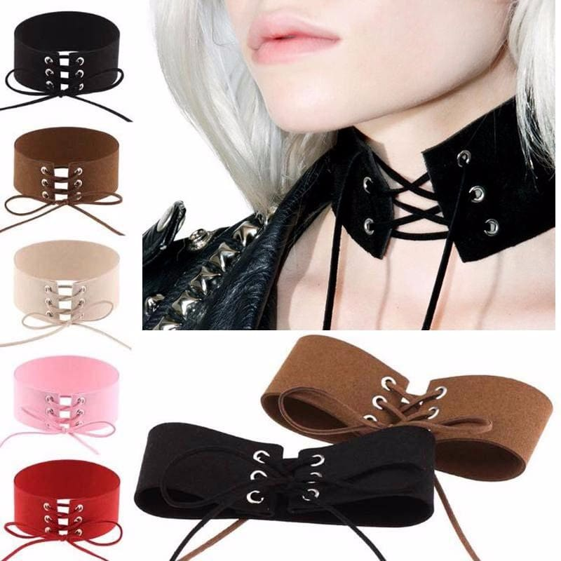5 Color Women Gothic Punk Bound Velvet Leather Lace Necklace Sexy Rope Chocker Jewelry