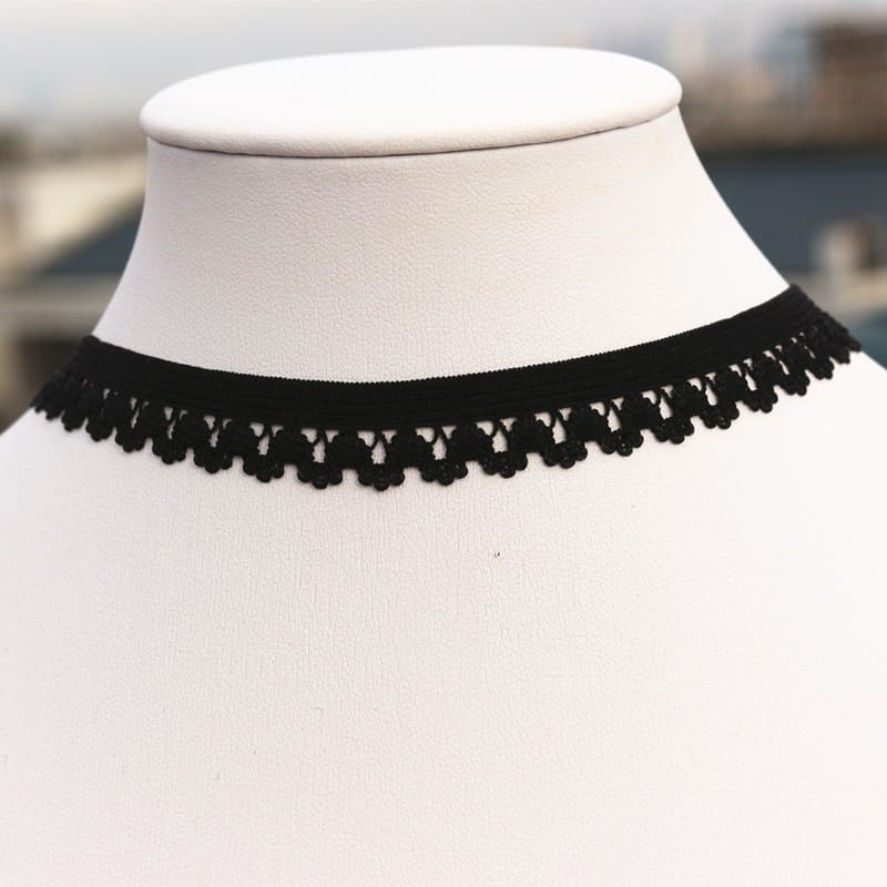 80S 90S Chokers Necklaces For Women Black Lace Elastic Tattoo Short Collares Fashion Jewelry Gothic Bijoux One Direction 2016