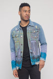 Distressed Airbrushed City Denim Jacket