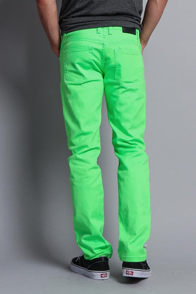 Men S Skinny Fit Colored Jeans Neon Green G Style Usa