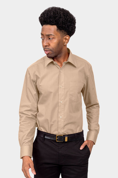 Men's Basic Solid Color Button Up Dress Shirt (Beige)