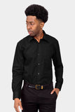 Men's Basic Solid Color Button Up Dress Shirt (Black)