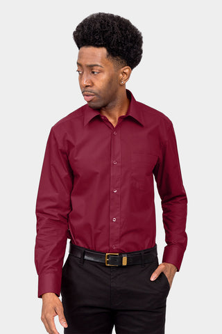 Men's Basic Solid Color Button Up Dress Shirt (Burgundy)