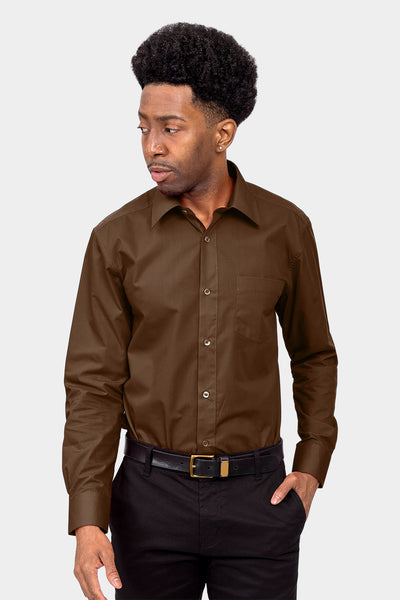 Men's Basic Solid Color Button Up Dress Shirt (Brown)