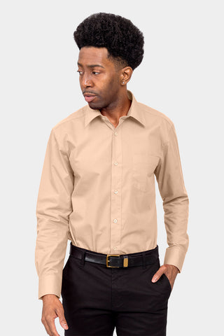 Men's Basic Solid Color Button Up Dress Shirt (Blush)