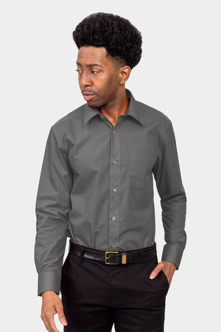 Men's Basic Solid Color Button Up Dress Shirt (Charcoal)