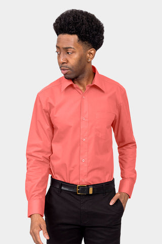 Men's Basic Solid Color Button Up Dress Shirt (Coral)