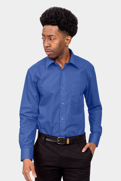 Men's Basic Solid Color Button Up Dress Shirt (French Blue)