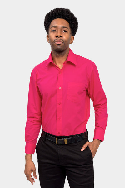 Men's Basic Solid Color Button Up Dress Shirt (Fuchsia)