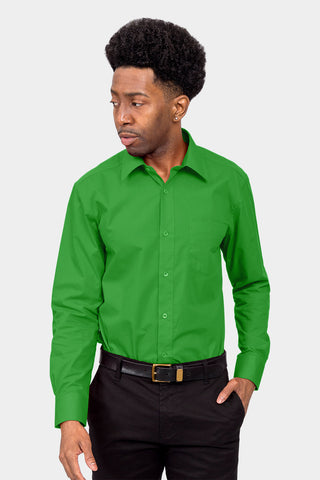 Men's Basic Solid Color Button Up Dress Shirt (Green)