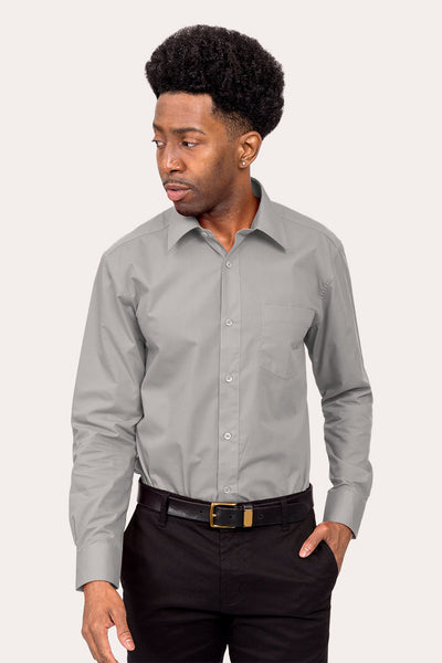 Men's Basic Solid Color Button Up Dress Shirt (Grey)
