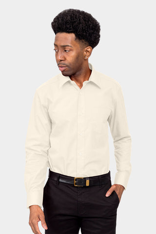 Men's Basic Solid Color Button Up Dress Shirt (Ivory)