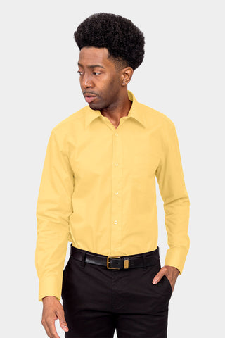 Men's Basic Solid Color Button Up Dress Shirt (Lemon)