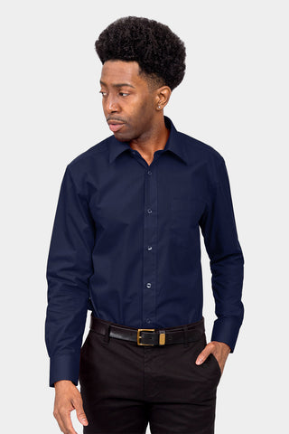Men's Basic Solid Color Button Up Dress Shirt (Navy)