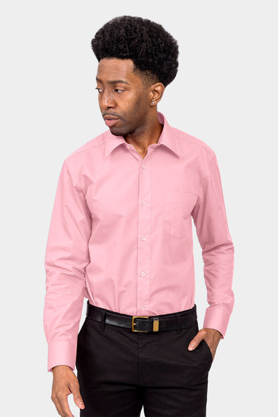 Men's Basic Solid Color Button Up Dress Shirt (Pink)