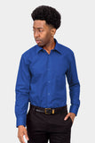 Men's Basic Solid Color Button Up Dress Shirt (Royal Blue)