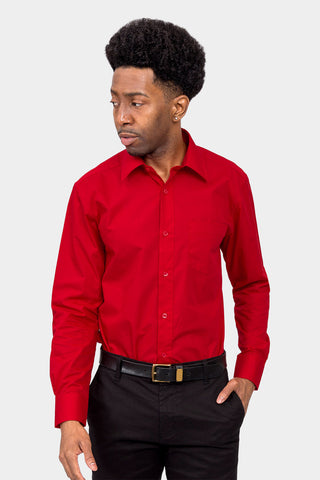 Men's Basic Solid Color Button Up Dress Shirt (Red)