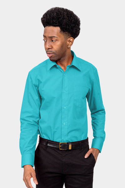 Men's Basic Solid Color Button Up Dress Shirt (Turquoise)