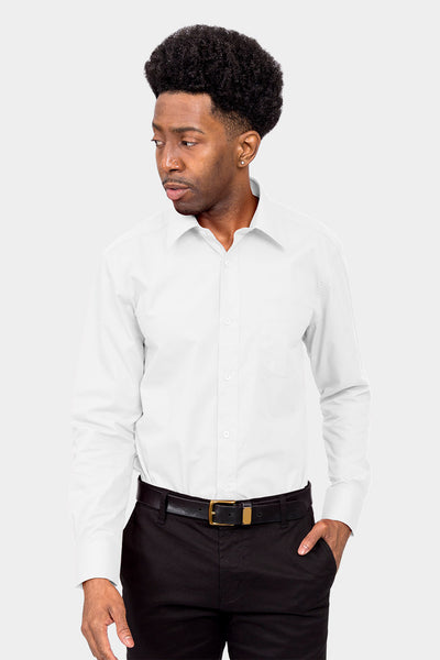 Men's Basic Solid Color Button Up Dress Shirt (White)