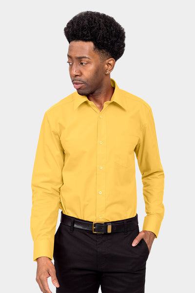 Men's Basic Solid Color Button Up Dress Shirt (Yellow)