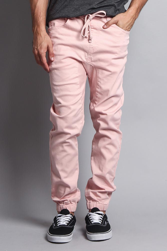 new varieties temperament shoes wide selection of colours and designs Men's Jogger Twill Pants (Dirty Pink)