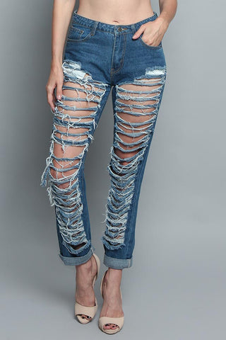 Super Distressed Denim Jeans