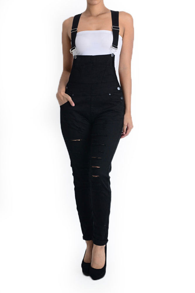 98536b1963cf Women s Solid Ripped Skinny Overalls RJHO379 - GStyleUSA.com – G ...