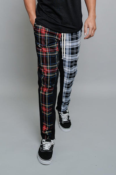 Two Tone Plaid Joggers TR583 - A9C