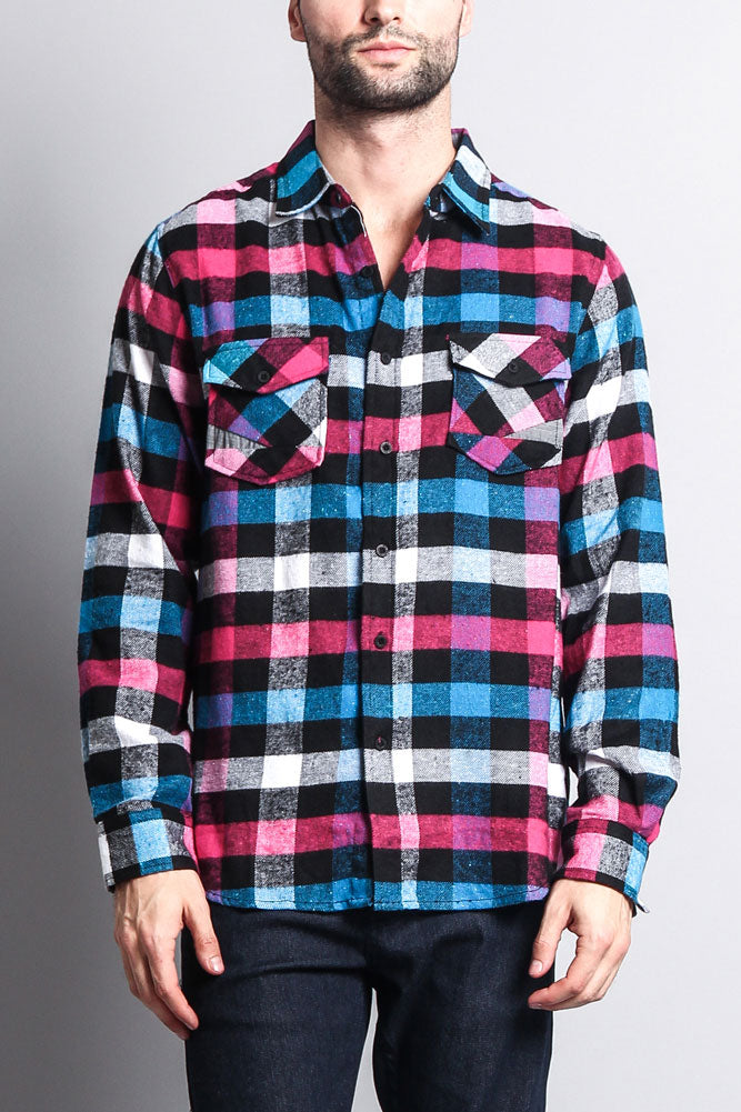 Men S Long Sleeve Woven Flannel Shirt Wfs 007 R8h G Style Usa