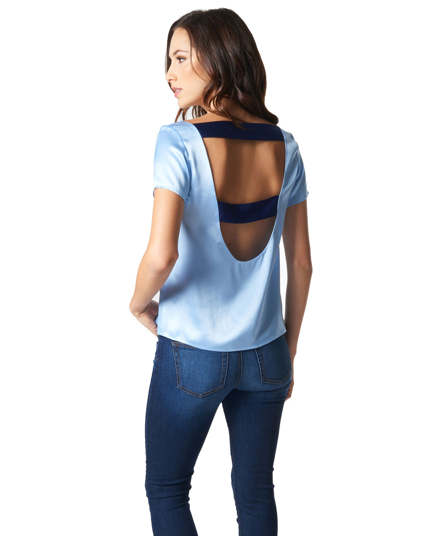Paige Open Back Top - Demure Blue and Navy