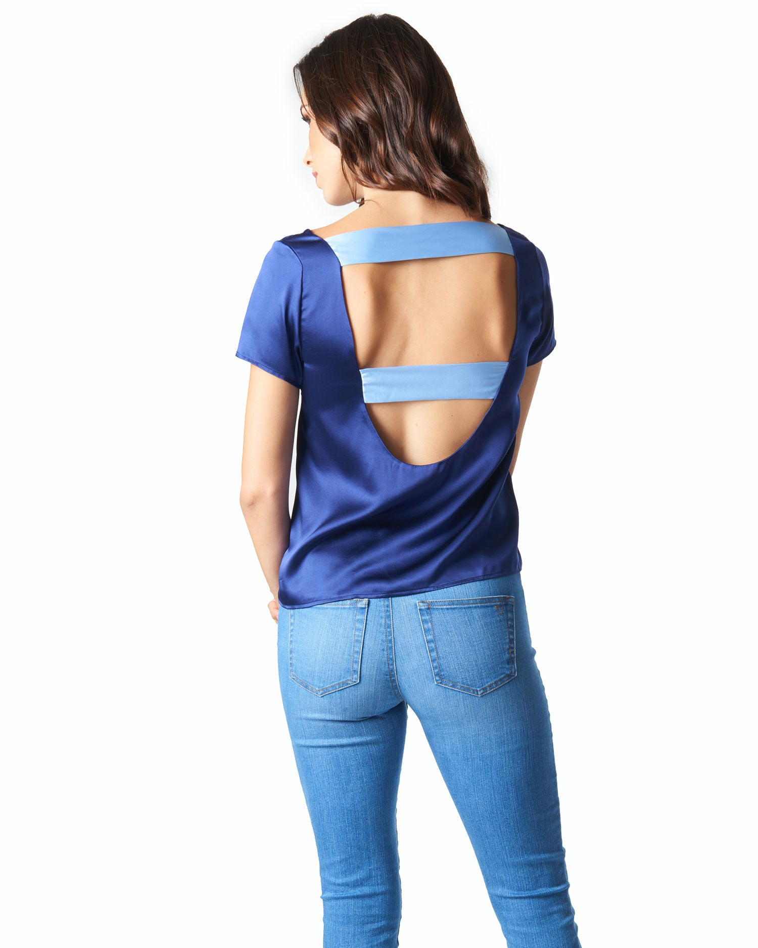 Paige Open Back Top - Navy and Demure Blue