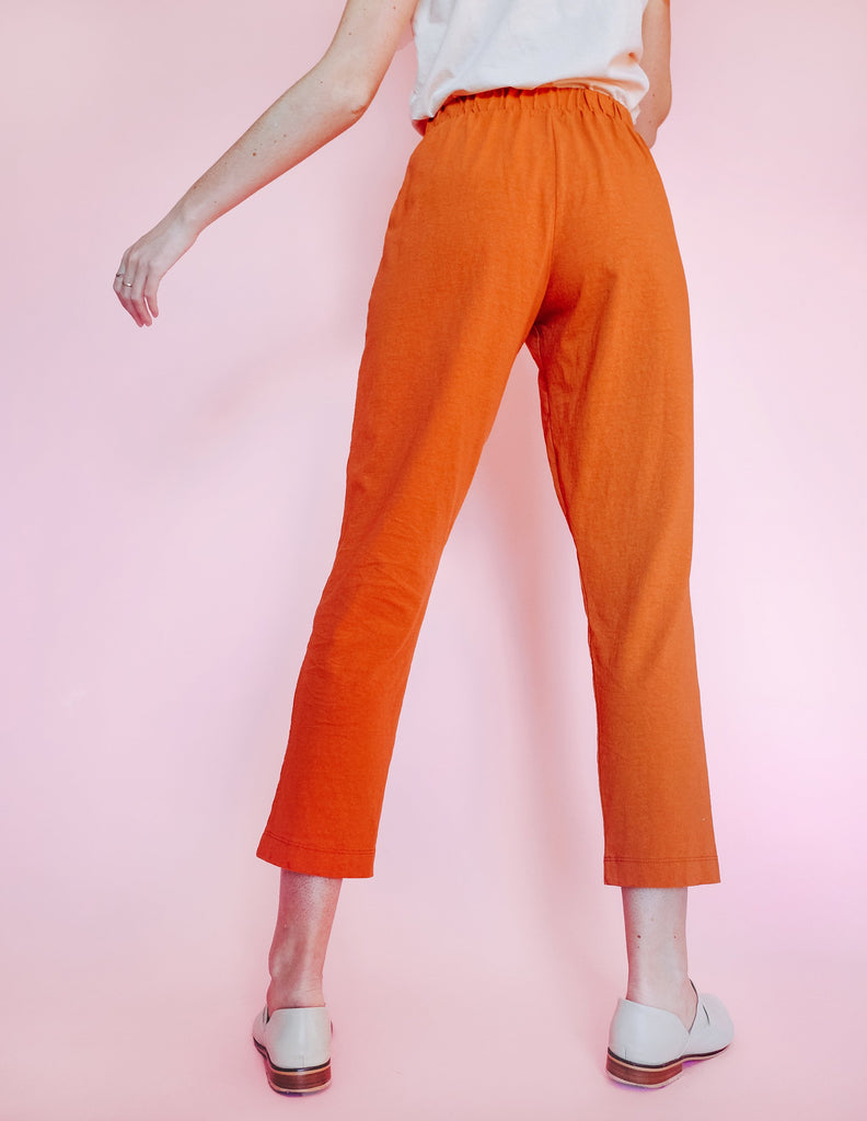 Pleat Plush Pant - Rust