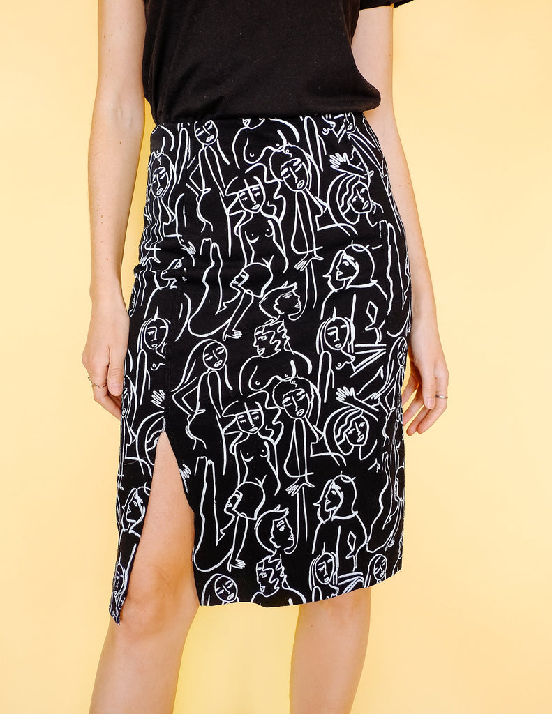Nudes Print Skirt - Black & White