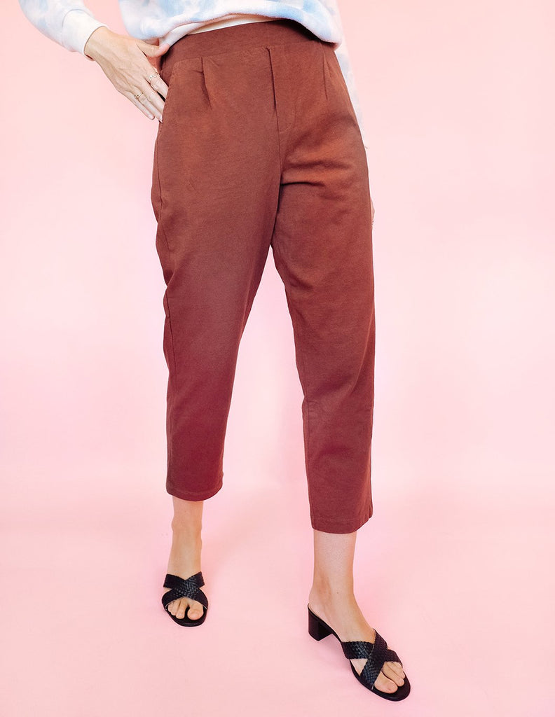 Pleat Plush Pant - Clay