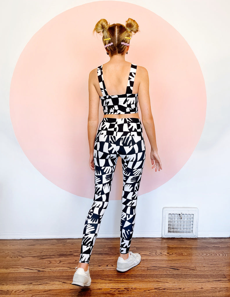 Hand Print Leggings - Black & White