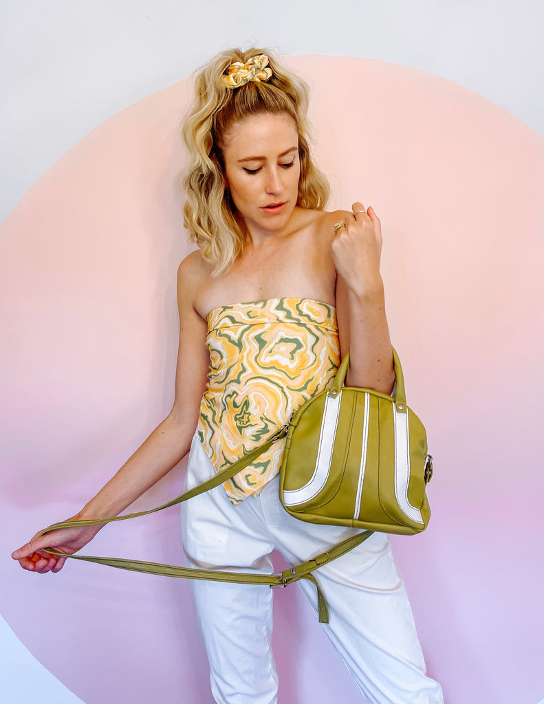 Bowler Mini Cross Body Bag - Aloe Green and White