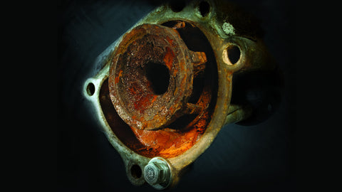 Rusted water pump in racing engine