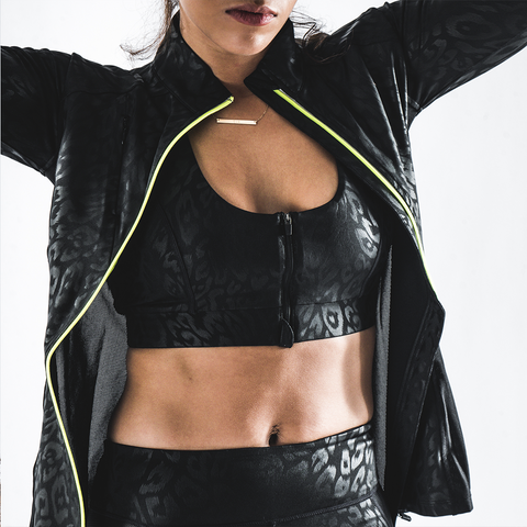 Bodied Black Leopard Print Running Jacket