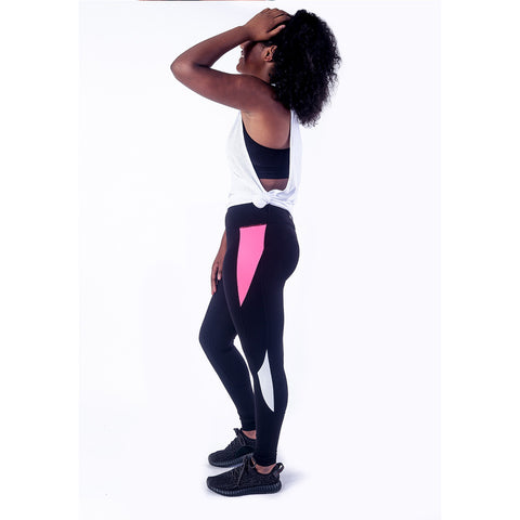 Bodied Block Pink/Black Leggings