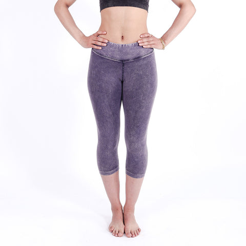 Bodied Purple Denim Vintage Capri Leggings
