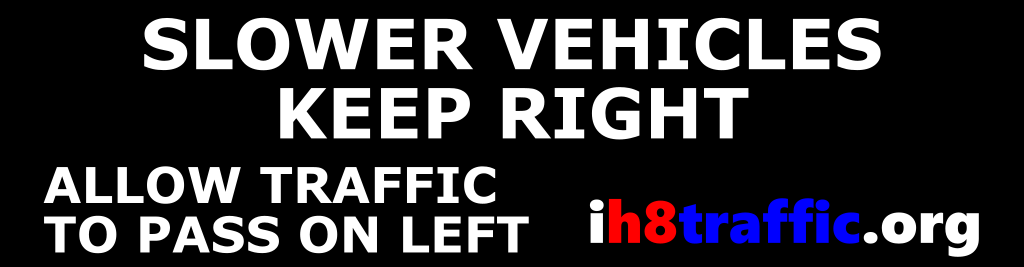 slower vehicles keep right bumper sticker