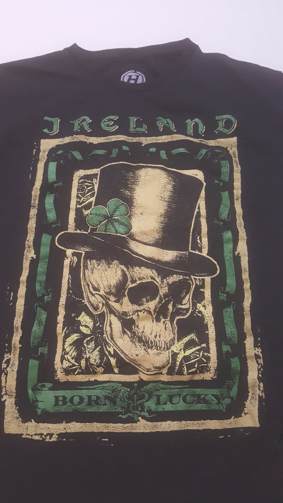 Ireland, Born Lucky, Skull with Top Hat, Medium Black Short Sleeve T-Shirt, TeeShirts, FREE Shipping