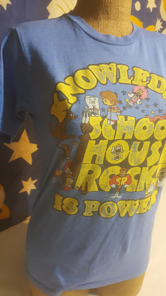 School House Rock! Knowledge is Power! Small Blue Short Sleeve T-Shirt, FREE Shipping