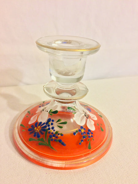 Single Clear Handpainted Candlestick