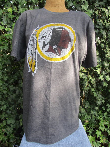 Redskin NFL Football Team Apparel, Large Grey Short Sleeve T-Shirt, FREE Shipping
