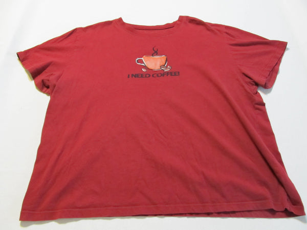 I Need Coffee, XL Red Short Sleeve T-Shirt, FREE Shipping